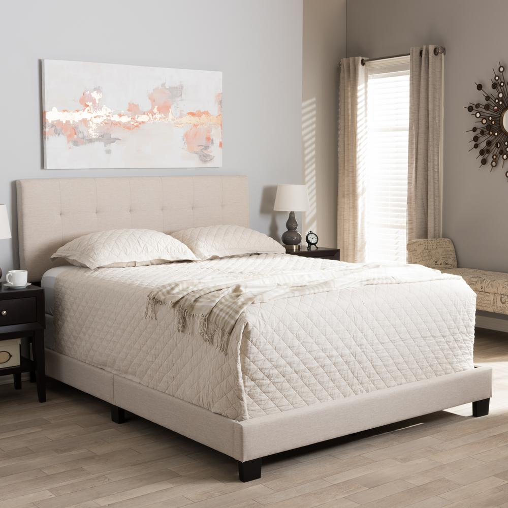 Baxton studio brookfield contemporary beige fabric - Contemporary king size bedroom furniture ...