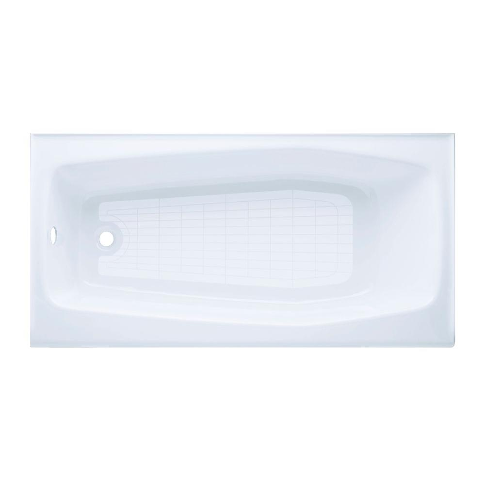 Left Hand Drain Rectangular Integral Farmhouse Apron Cast Iron Bathtub