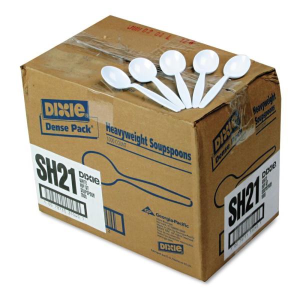 Dixie Heavyweight Polystyrene Soup Spoons, White, 1000 Per Case DXESH217