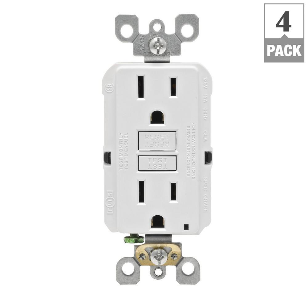 Leviton 15 Amp 125 Volt Afci Gfci Dual Function Outlet White Agtr1 Mobile Home Wiring Free Download Diagrams Pictures Also Double Kw The Depot