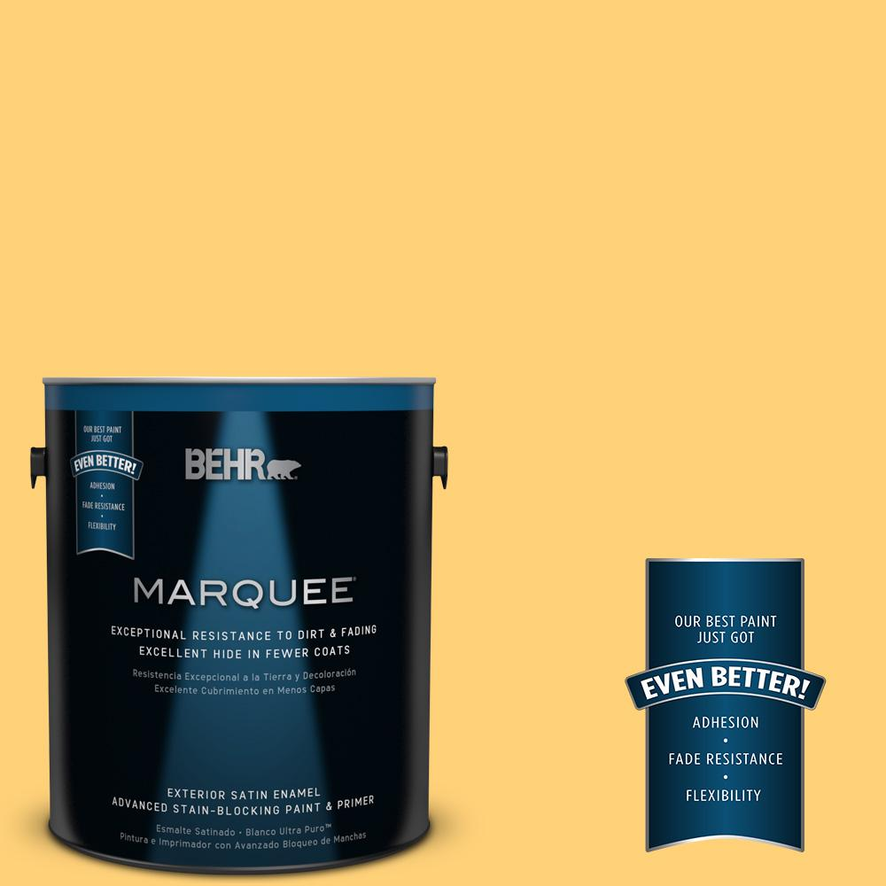 BEHR MARQUEE 1-gal. #P260-5 Yellow Jubilee Satin Enamel Exterior Paint