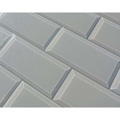 3 in. x 6 in. Frosted Elegance Joey Gray Sparkle Glass Peel and Stick Wall Tile Sample