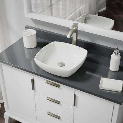 Porcelain Vessel Sink in Biscuit with 7006 Faucet and Pop-Up Drain in Brushed Nickel