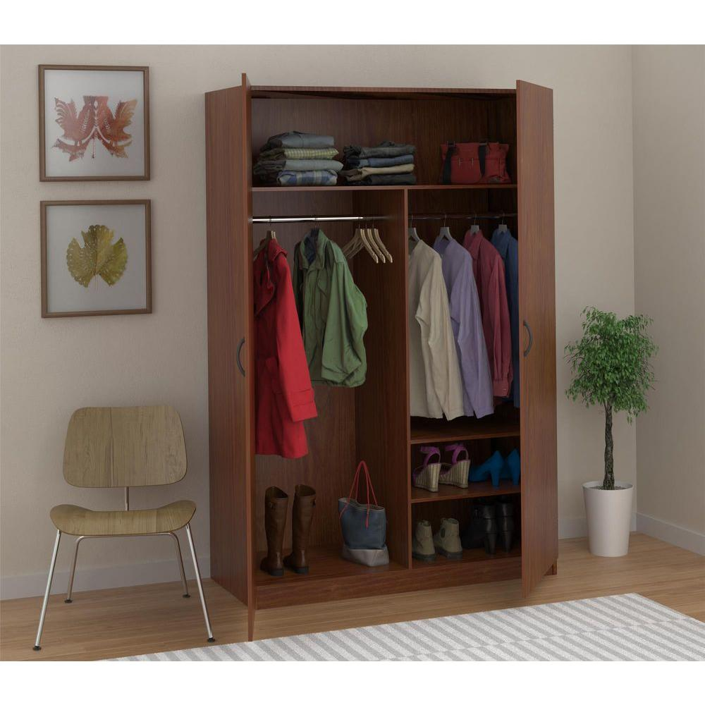 Wardrobe Storage Closet With Hanging Rod And 2 Shelves In American Cherry