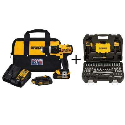 20-Volt MAX Lithium-Ion 1/2 in. Cordless Hammer Drill with Bonus 108-Piece Mechanics Tool Set