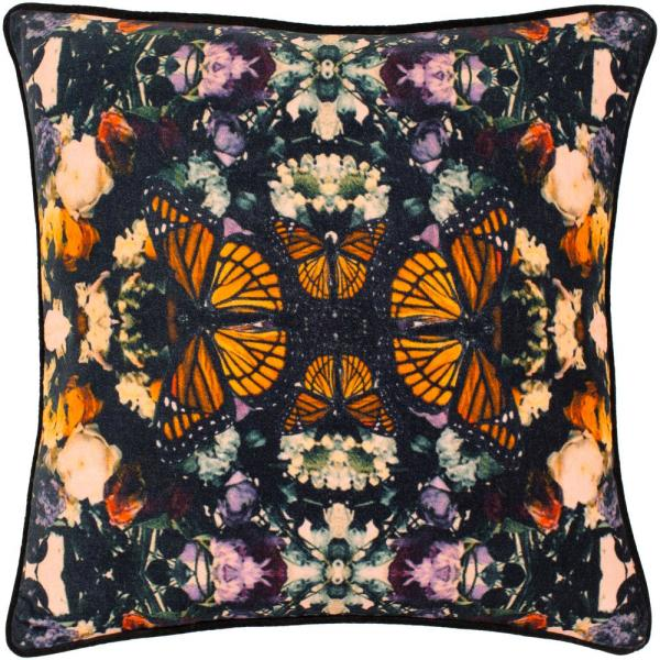Reformation 18 in. x 18 in. Orange Graphic Polyester Standard Throw Pillow