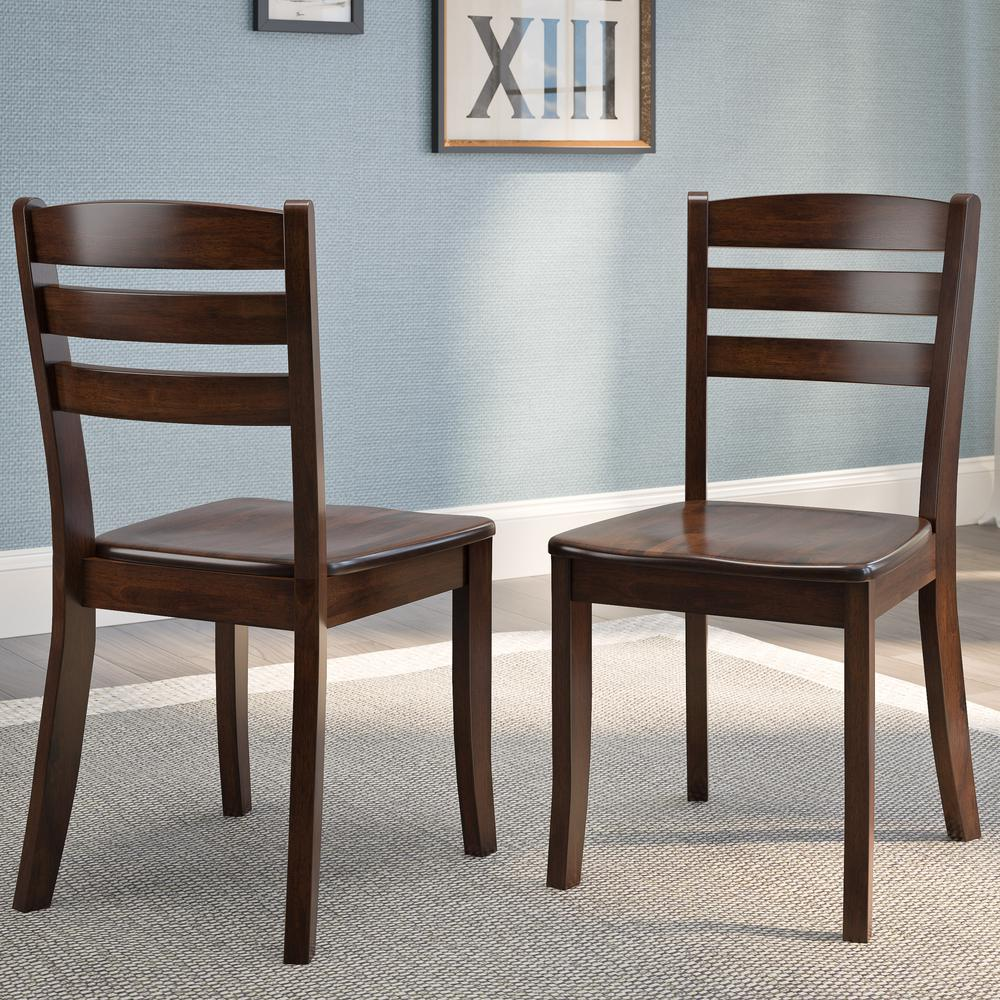 Dillon Cappuccino Stained Solid Wood Horizontal Salt Backrest Dining Chairs (Set