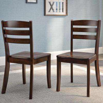 Dillon Cappuccino Stained Solid Wood Horizontal Salt Backrest Dining Chairs (Set of 2)