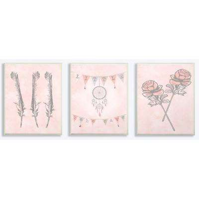"10 in. x 15 in. ""Little Babe Cave Dreamcatcher Flowers Pink"" by Daphne Polselli Printed Wood Wall Art"