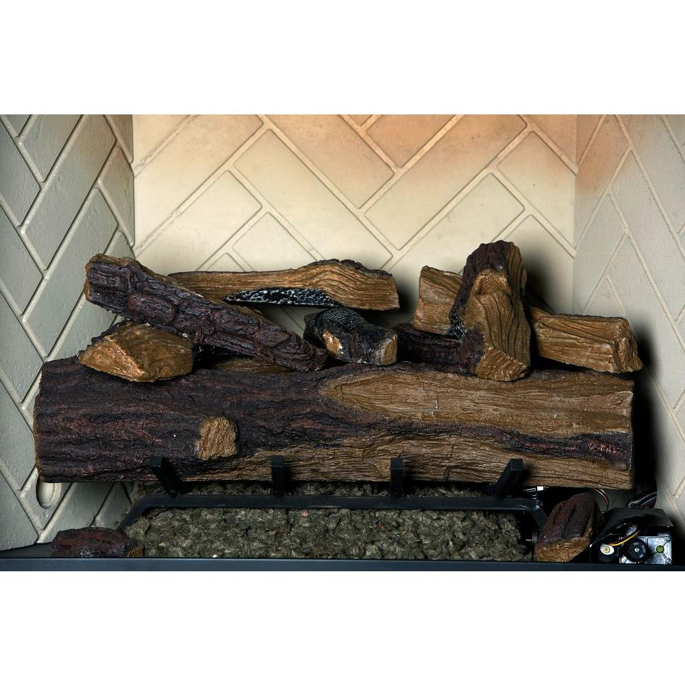 Create the natural look to your family space by using this Emberglow Appalachian Oak Vented Natural Gas Fireplace Log Set with Remote.