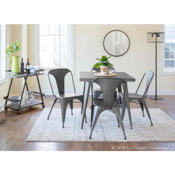 Lumisource Austin Matte Grey Metal Dining Chair Set Of 2 Dc Tw Au Gy2 The Home Depot