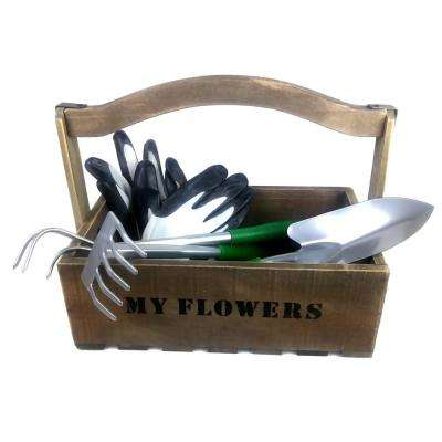Wooden Garden Tool Box with Tools and Gloves