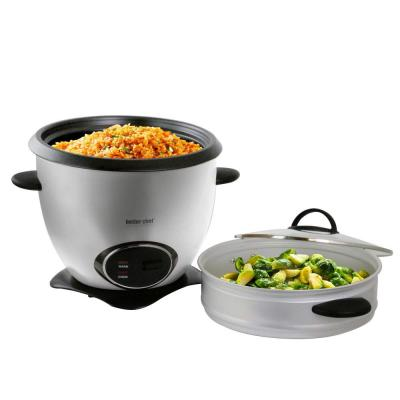 10-Cup Stainless Steel Rice Cooker with Steamer Basket