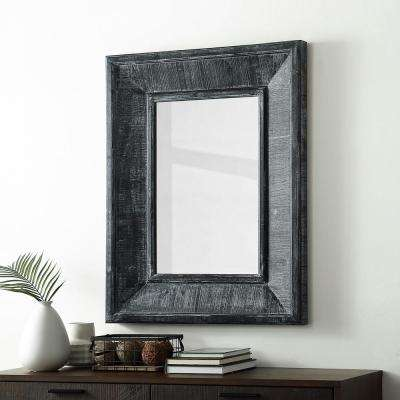 36 in. Transitional Urban Industrial Modern Farmhouse Rectangle Textured Wood Beveled Wall Mirror