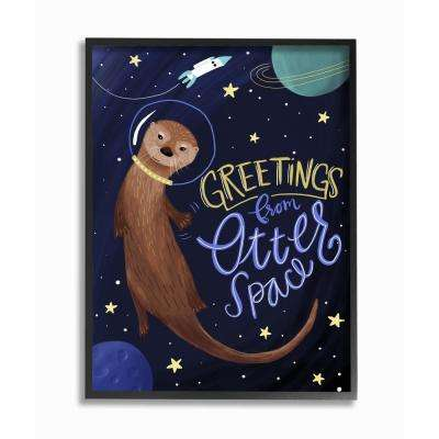 """16 in. x 20 in. """"Otter Space Funny Animal"""" by Megan Dunagan Printed Framed Wall Art"""