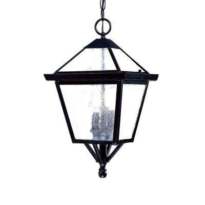 Bay Street Collection 3-Light Matte Black Outdoor Hanging Light Fixture