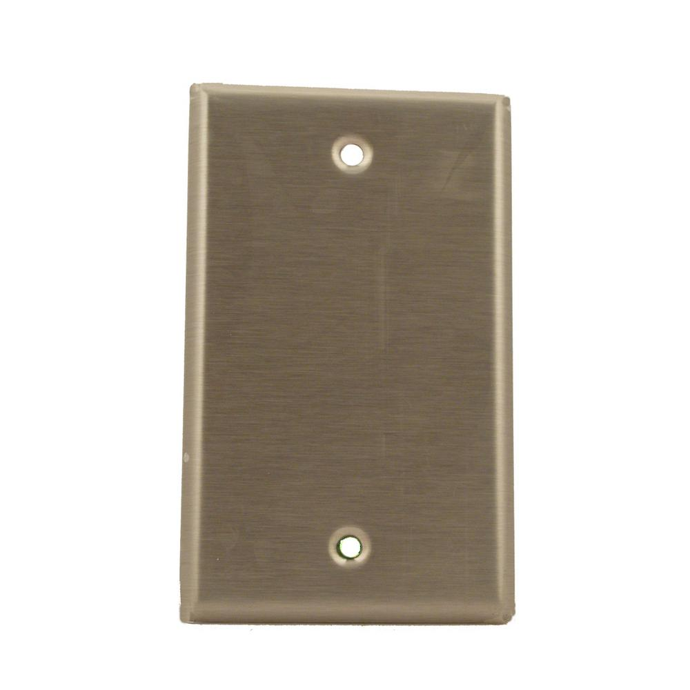1-Gang No Device Blank Wallplate, Standard Size, 430 Stainless Steel, Box