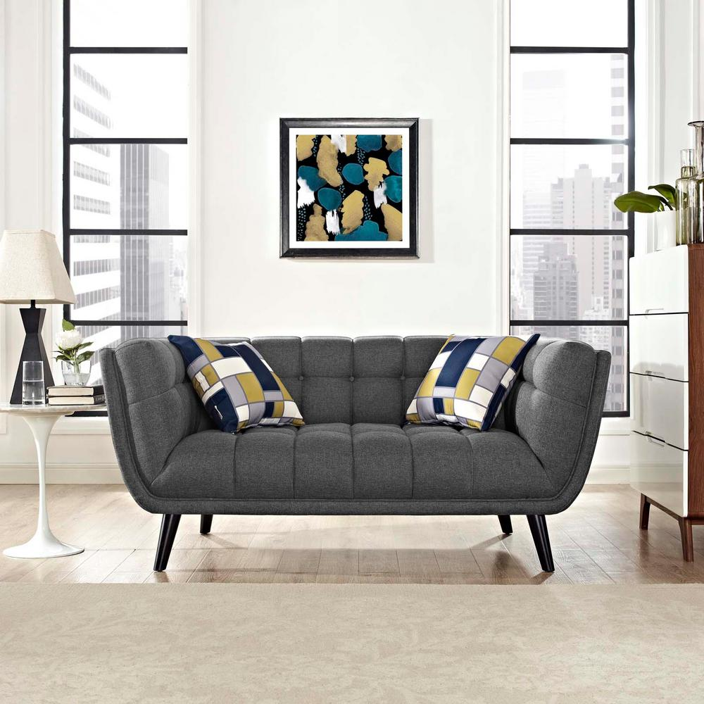 Bestow Gray Upholstered Fabric Loveseat