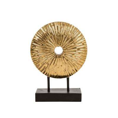 11.02 in. H Gold Accent Sunburst Tabletop Decor
