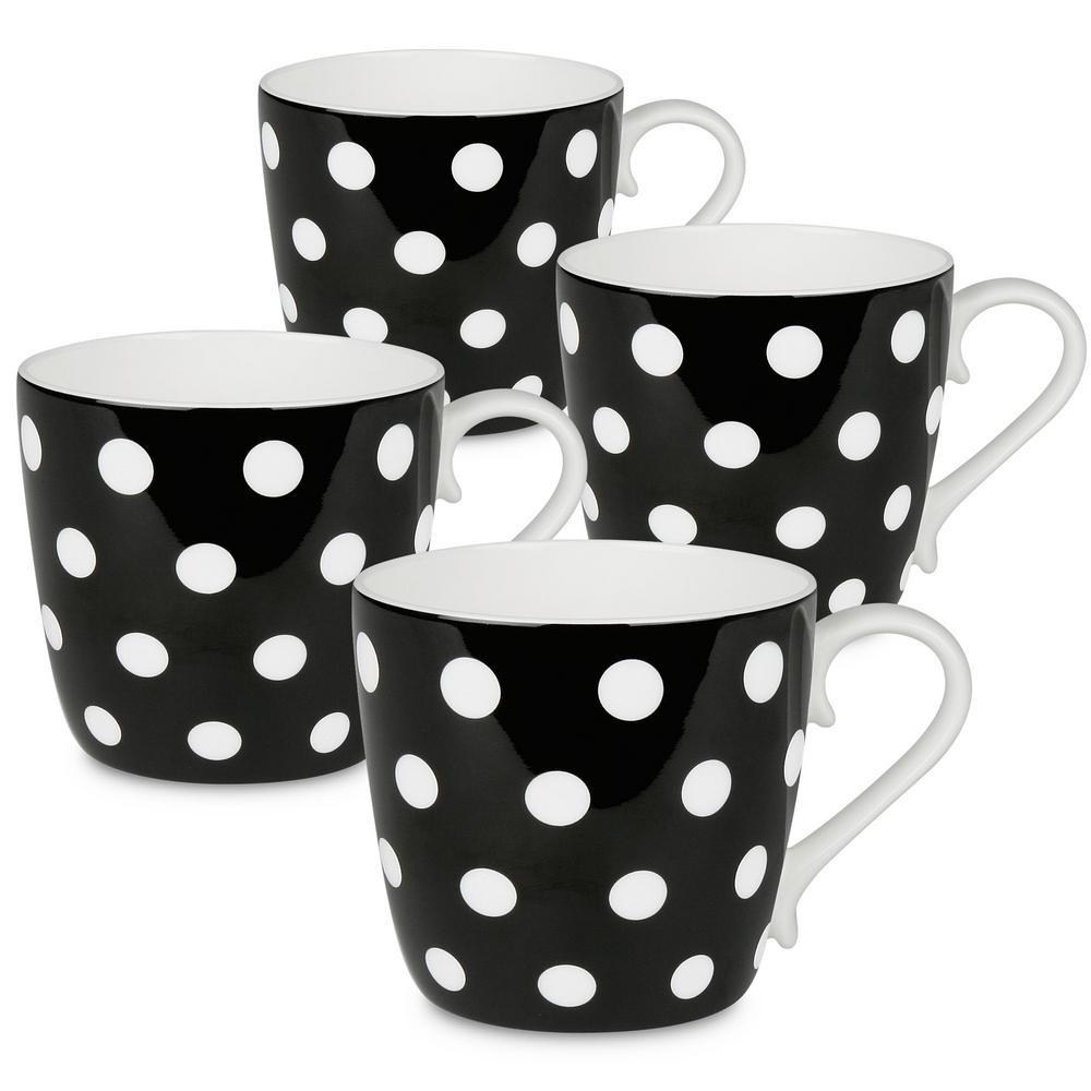Konitz 4-Piece Polka Dots Black Bone China Mug Set