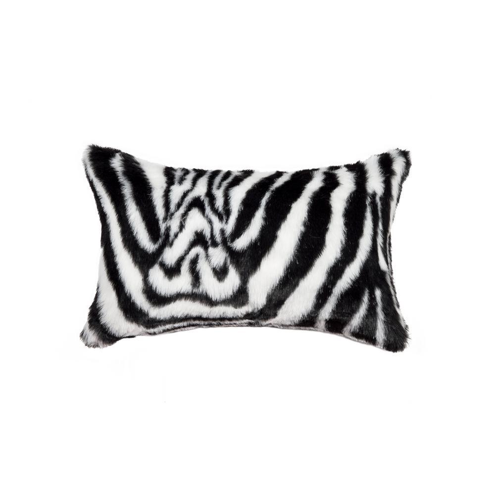 Black and White 12 in. x 20 in. Faux Zebra Decorative