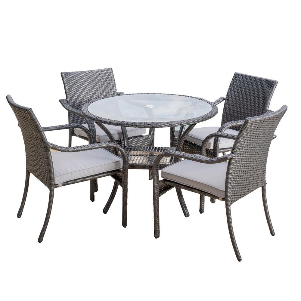 San Pico Gray 5-Piece Wicker Outdoor Dining Set