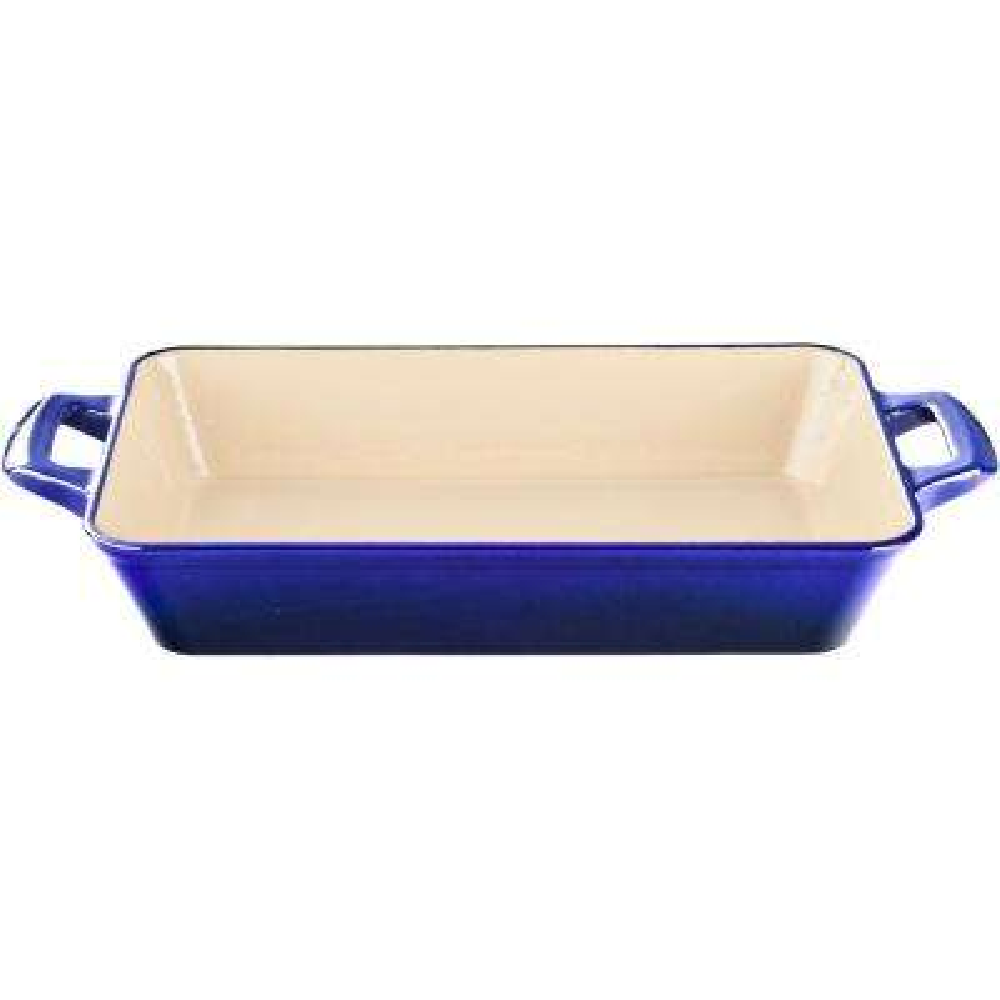 Medium Deep Cast Iron Roasting Pan with Enamel in High Gloss Sapphire