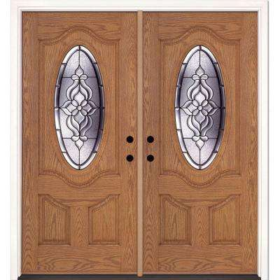 74 in. x 81.625 in. Lakewood Patina 3/4 Oval Lite Stained Light Oak Right-Hand Fiberglass Double Prehung Front Door