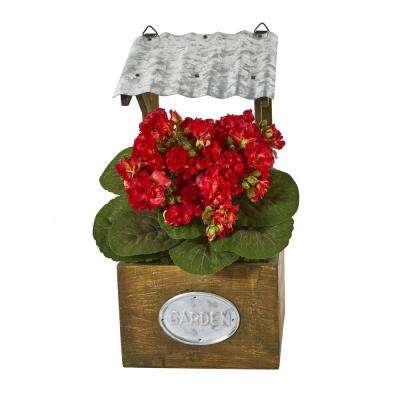 14 in. Violet Artificial Plant in Tin Roof Planter