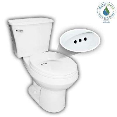 2-piece 1.28 GPF Single Flush Round Toilet with Patented Overflow Protection Technology in White with Seat