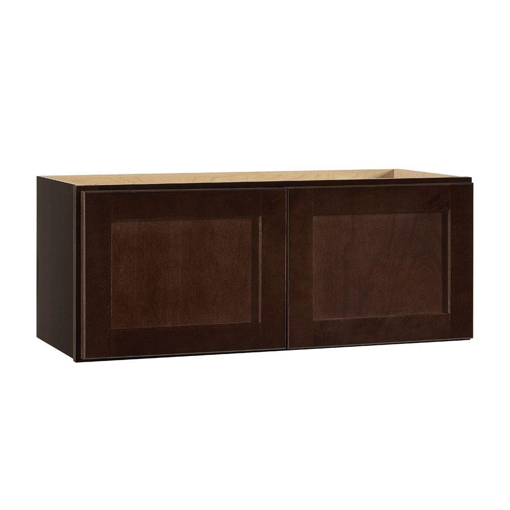 Hampton Bay Shaker Assembled 30x12x12 in. Wall Bridge Kitchen Cabinet in Java