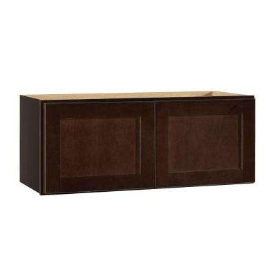 Shaker Assembled 30x12x12 in. Wall Bridge Kitchen Cabinet in Java