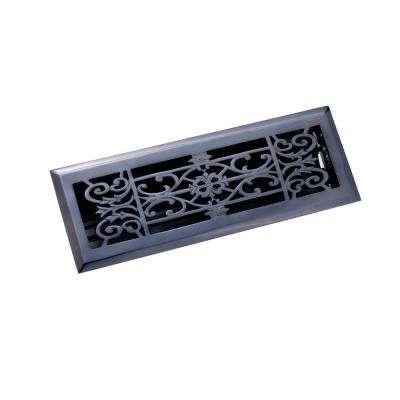 4 in. x 14 in. Decorative Floor Register, Antique Black