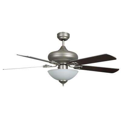 Valley 52 in satin nickel ceiling fan with light kit and 5 blades