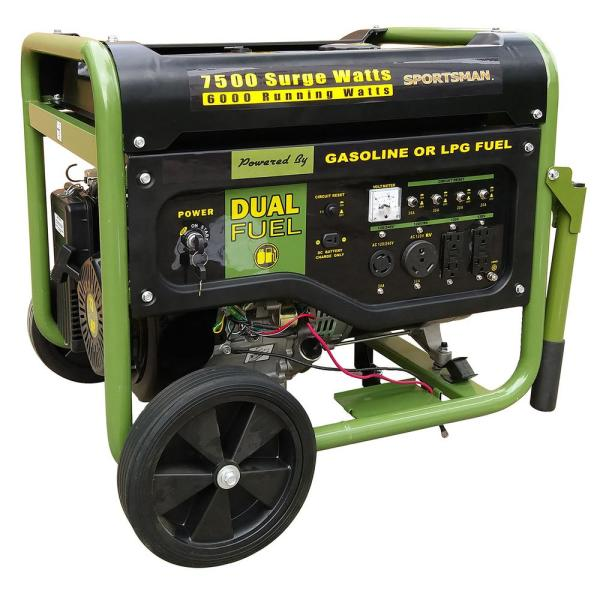 7,500/6,000-Watt Dual Fuel Powered Portable Generator with Electric Start and Runs on LPG or Regular Gasoline