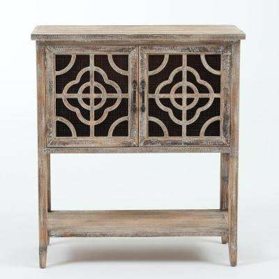 Rustic Natural Wood and Metal Double Door Console Table
