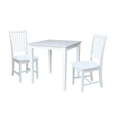 Emma 3-Piece White Solid Wood Dining Set