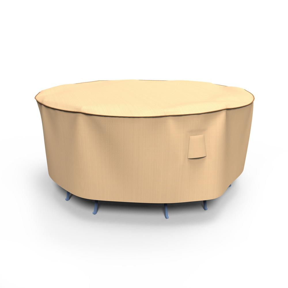 Budge Rust-Oleum NeverWet Small Tan Outdoor Round Patio Table and Chairs Combo Cover