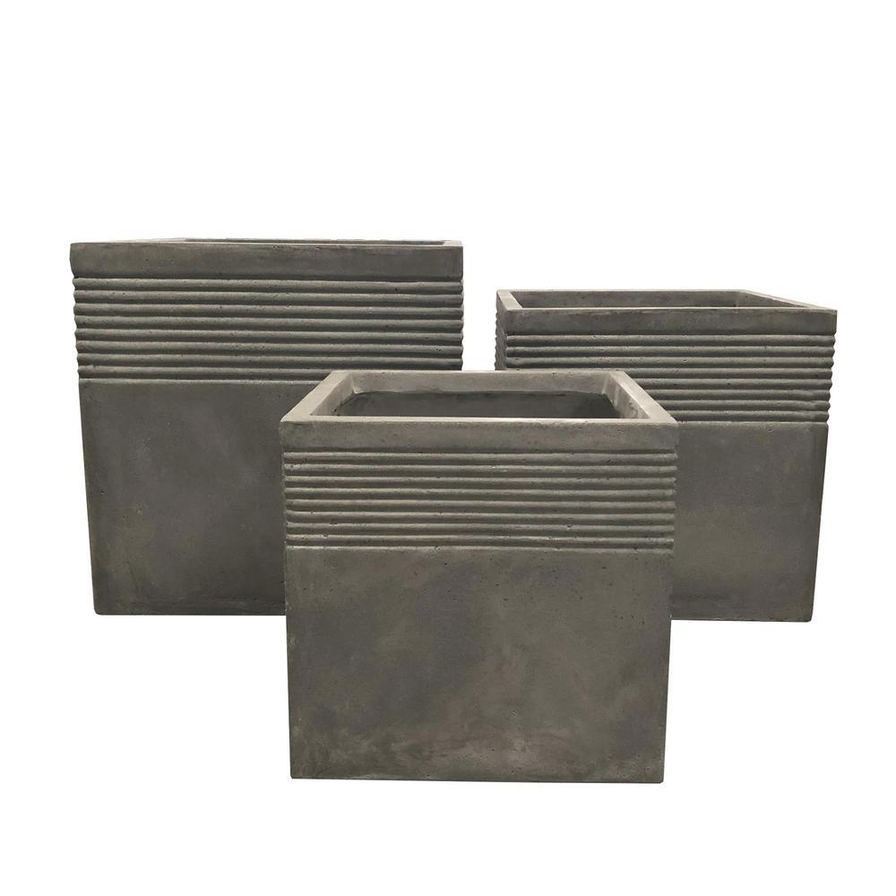 Lightweight Light Grey Concrete Square Stripped Planter (3-Set)