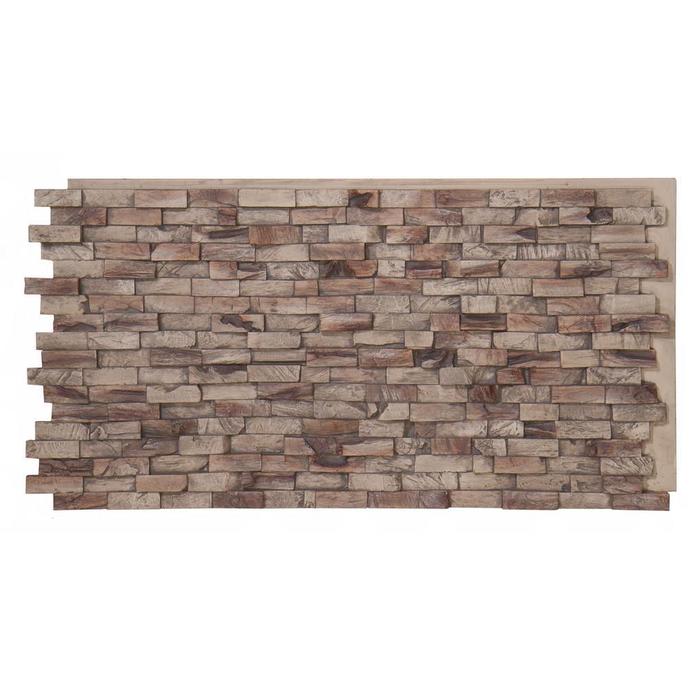 Teak Faux Wood Panel 1-1/4 in. x 48 in. x 24 in. Seaside Polyurethane Interlocking Panel