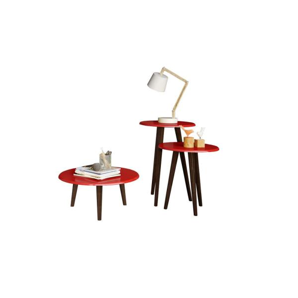 Manhattan Comfort Carmine Mid Century Modern Red End Tables with Solid Wood Splayed Legs (Set of 3)