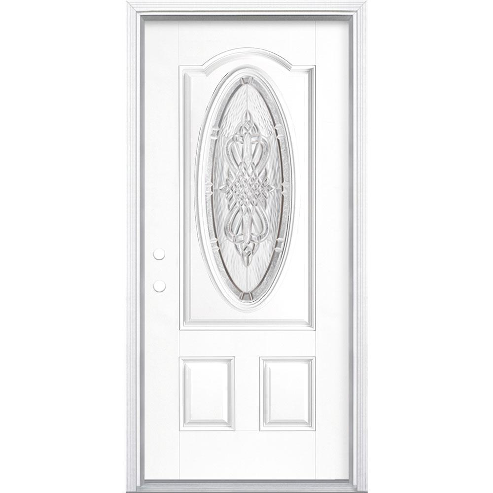 Masonite 36 in. x 80 in. New Haven 3/4 Oval Right-Hand Inswing Painted Smooth Fiberglass Prehung Front Exterior Door w/ Brickmold