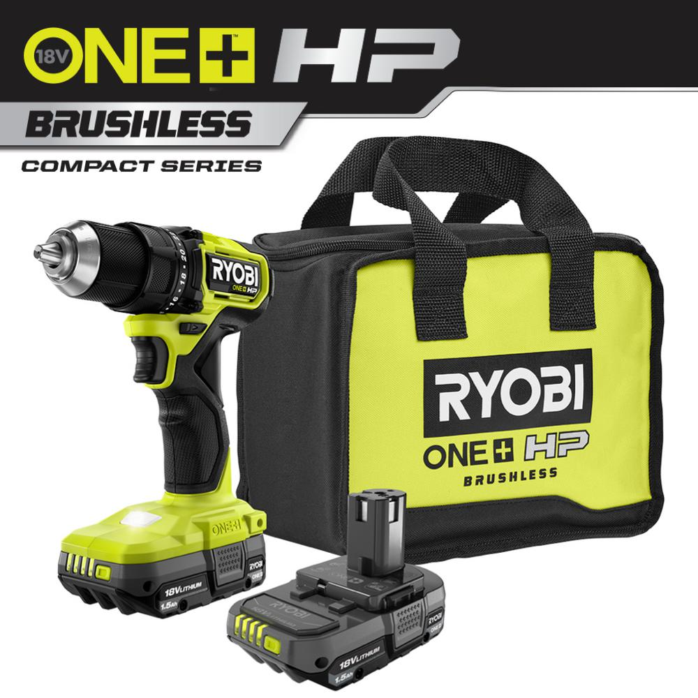 RYOBI ONE+ HP 18V Brushless Cordless Compact 1/2in Drill/Driver Kit with (2) 1.5 Ah Batteries, Charger and Bag