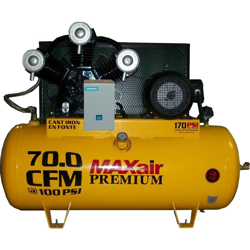 Maxair Premium Industrial 120-Gal. 15 HP Electric 208-Volt Single Stage 3-Phase Air Compressor