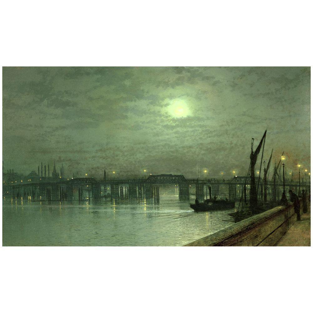 Trademark Fine Art 18 in. x 32 in. Battersea Bridge by Moonlight Canvas Art