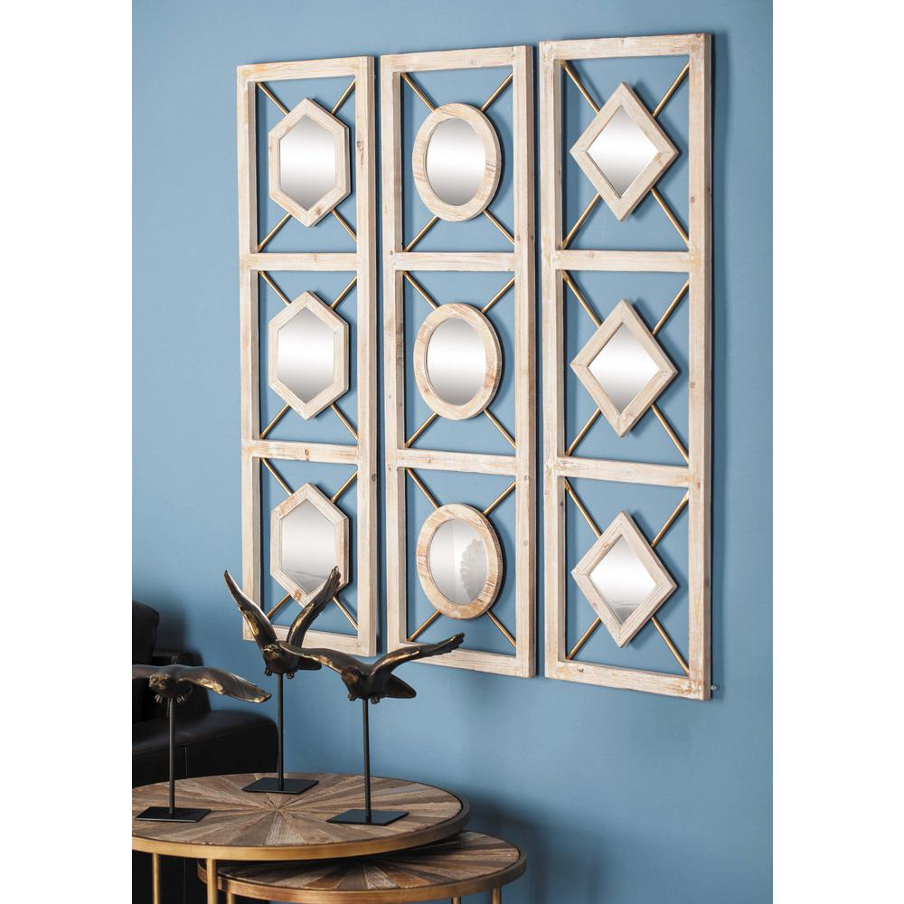 litton lane 39 in x 13 in diamond paneled framed wall mirrors set of 3 84361 the home depot. Black Bedroom Furniture Sets. Home Design Ideas