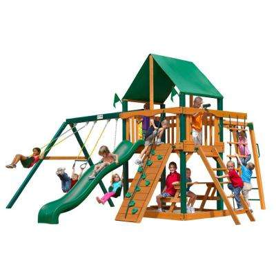 Navigator with Timber Shield and Deluxe Green Vinyl Canopy Cedar Playset