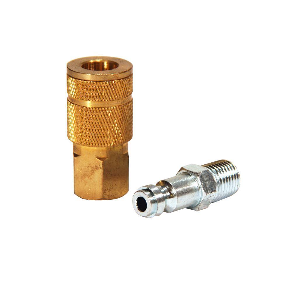 1/4 in. Automotive Brass Coupler Set with Male Plug (2-Piece)