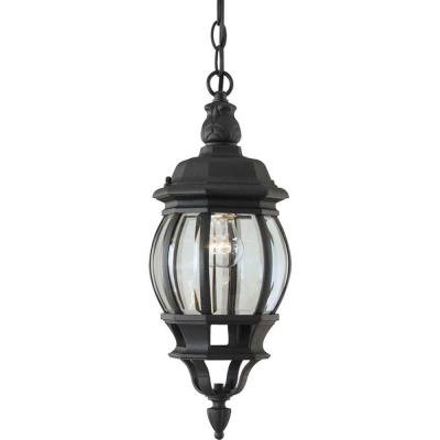 1-Light Outdoor Black Pendant with Clear Beveled Glass Panels