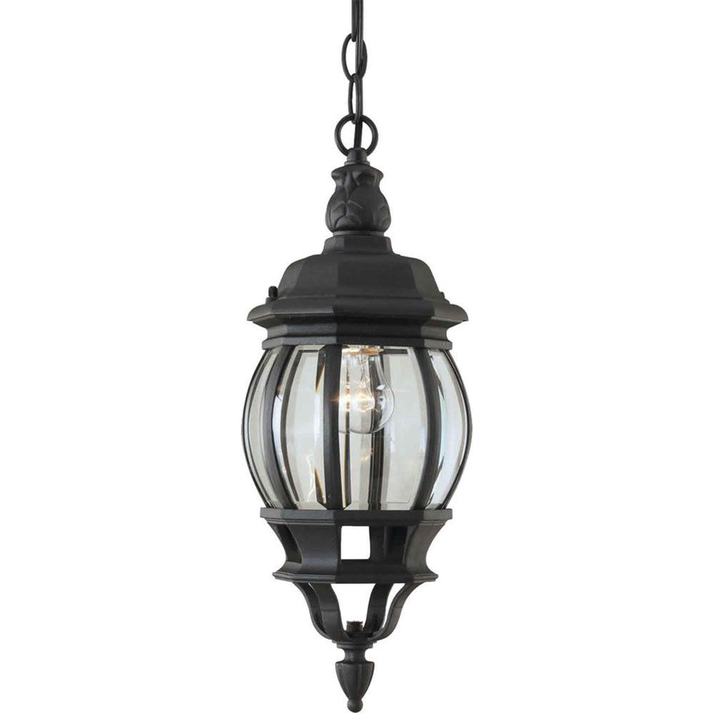 Talista 1-Light Outdoor Black Pendant with Clear Beveled Glass Panels